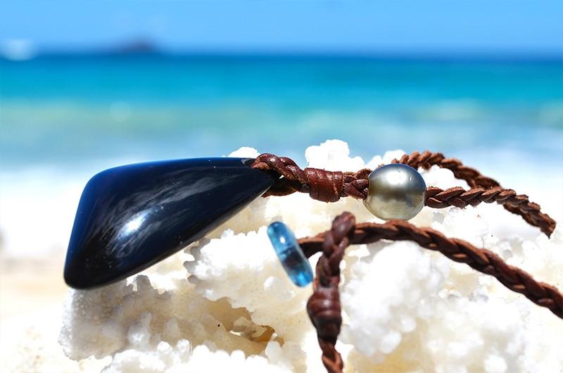 Collier tressé obsidienne oeil céleste et perle de Tahiti