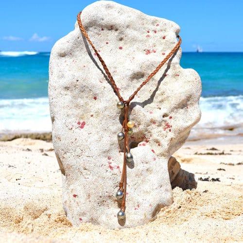 Collier tressé perles de Tahiti et perles d'Australie