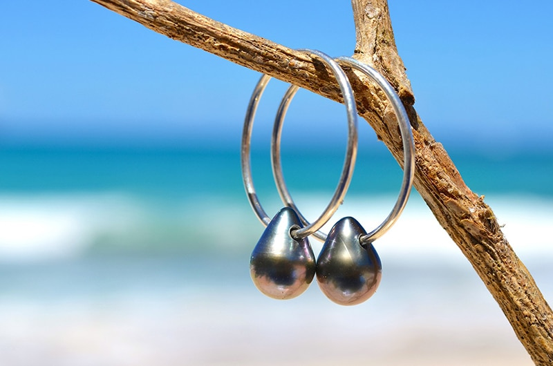 Drop Tahitian pearl Creoles