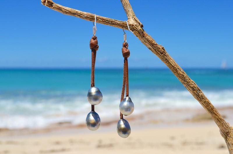 Earrings 4 Tahitian pearls