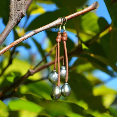 Earrings 4 Tahitian pearls