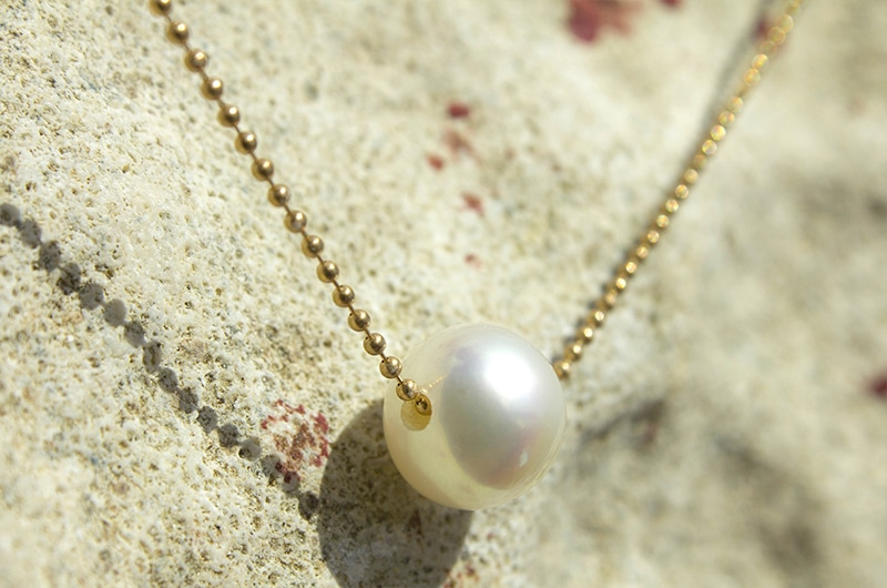 Gold Necklace and White Australian Pearl