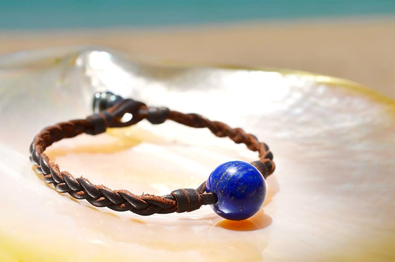 Lapis Lazuli braided bracelet and Tahitian pearl