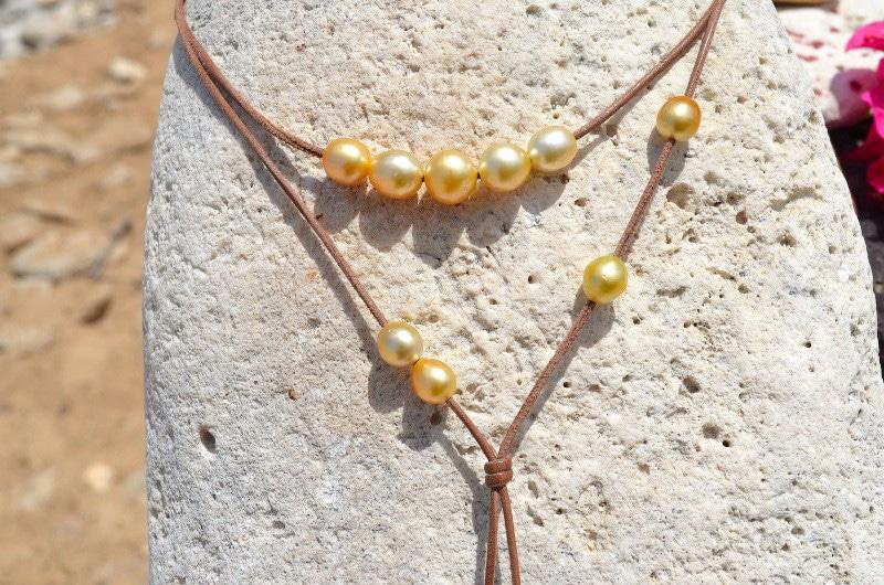 Necklace 12 Golden Australian Pearls