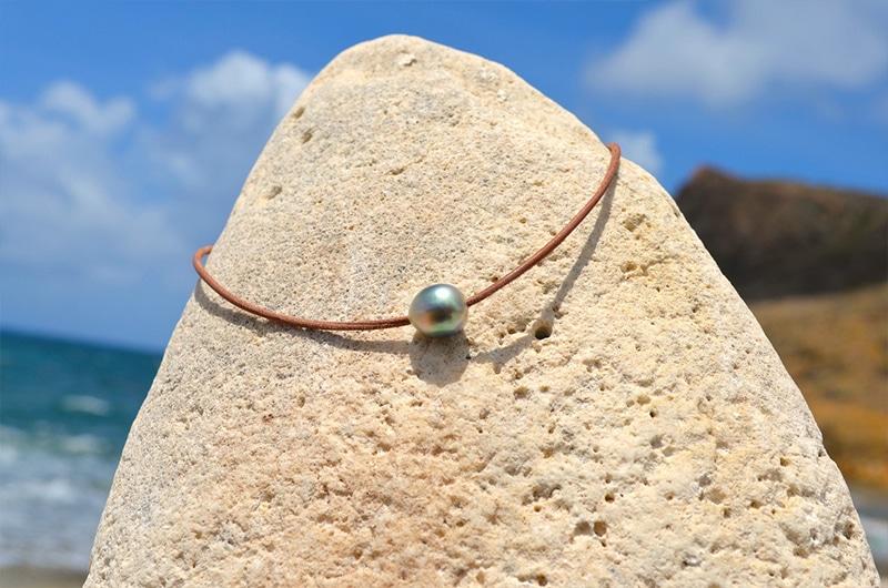 Sautoir 3 perles de Tahiti semi baroque - 13mm