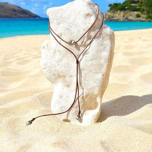 Sautoir ras du cou 3 perles de Tahiti