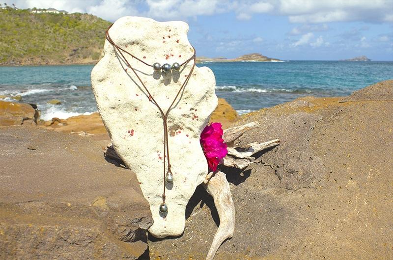 Sautoir ras du cou 5 perles de Tahiti