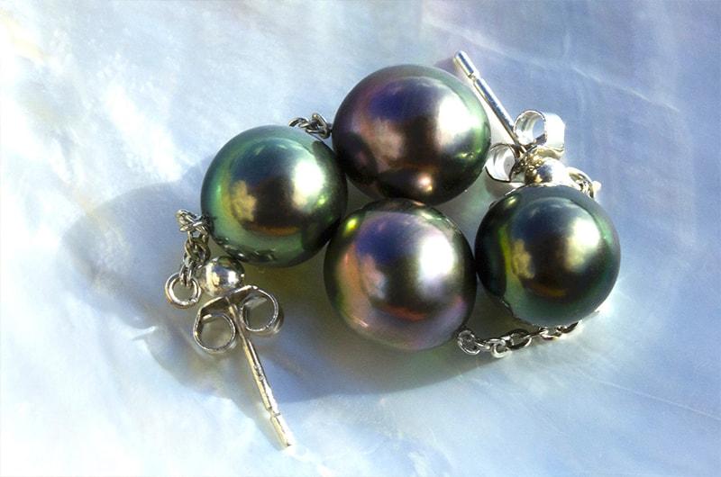 Silver Earrings 4 Tahitian pearls