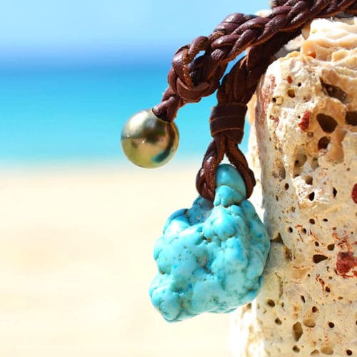 Turquoise braided necklace and Tahitian pearl