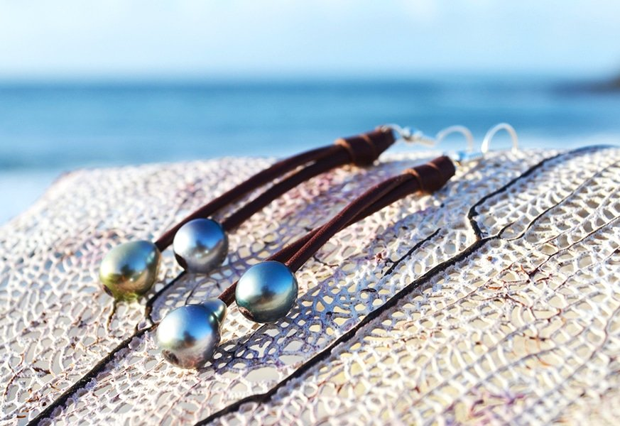 Tahitian Pearl Earrings - Kalinas Perles