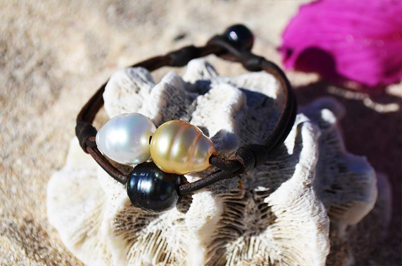 Bracelet 2 Rangs 3 perles Couleurs (9,5mm)