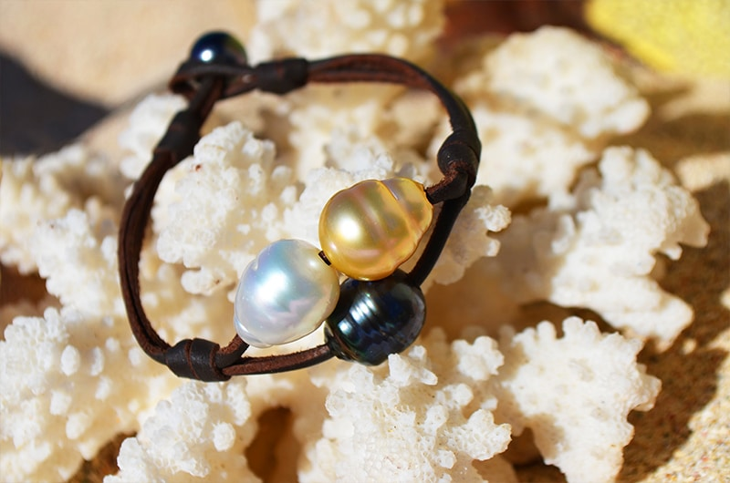 Bracelet 2 Rangs 3 perles Couleurs (9,5mm)