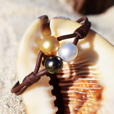 Bracelet 2 rangs 3 perles multicolores (9mm)