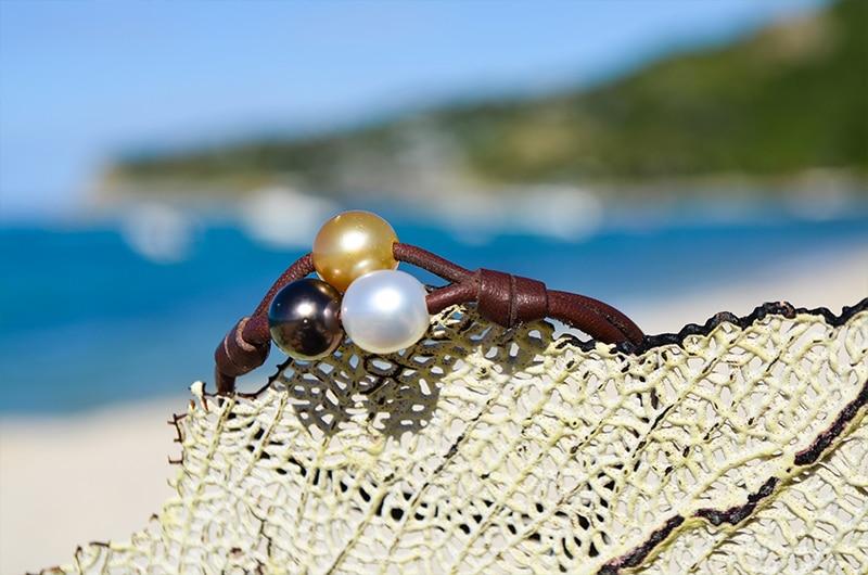 Bracelet 2 rows 3 multicolored pearls (9mm)