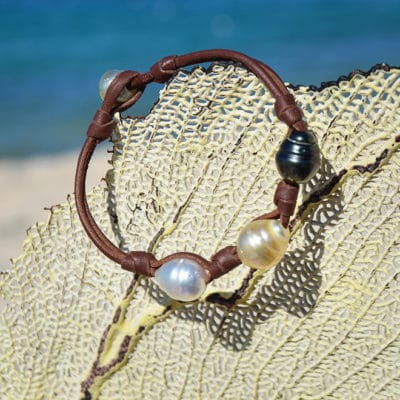 Bracelet 3 perles cerclées multicolores et noeuds (10,5mm)