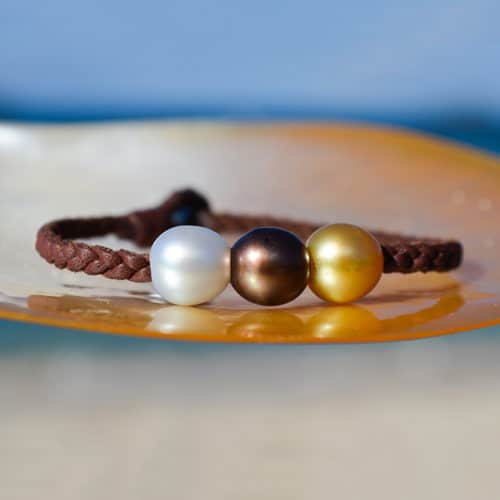 Braided bracelet 3 multicolored Pearls (9mm)