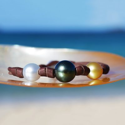 Bracelet 3 multicolored pearls and knots (9,5mm)