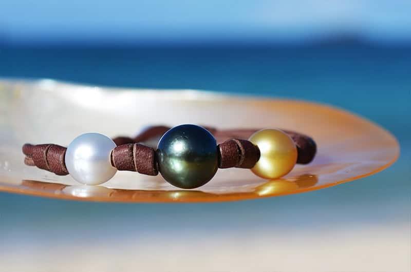 Bracelet 3 perles multicolores et noeuds (9,5mm)