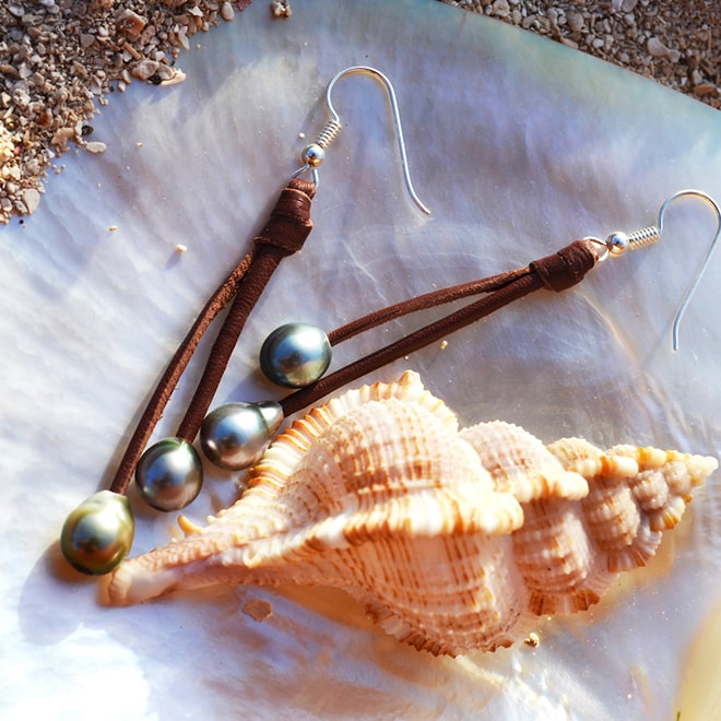 4 Tahitian Pearls and Leather long Earrings