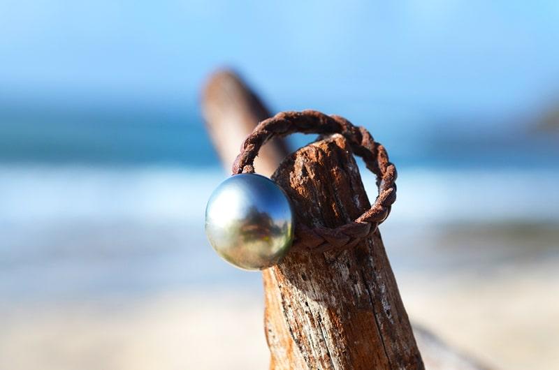 Bague tressée 1 perle de Tahiti - 12,5mm