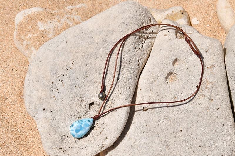 Collier pendentif ajustable Larimar et Perle de Tahiti