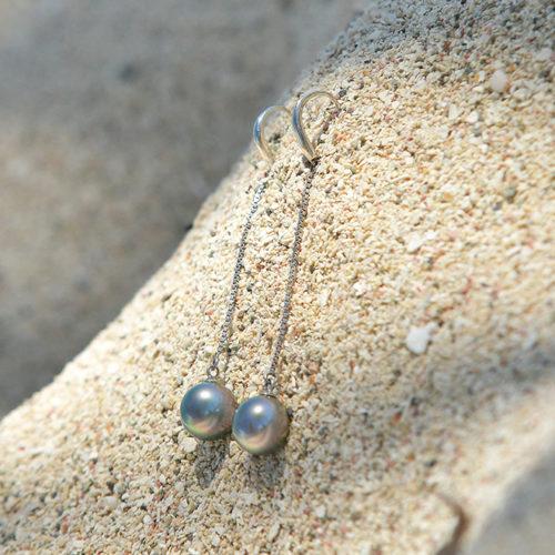 Boucle d'oreille en argent et perles de Tahiti