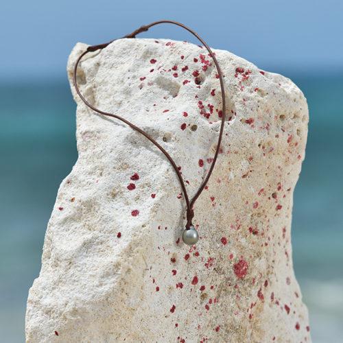 Collier pendentif unisexe avec perle de Tahiti